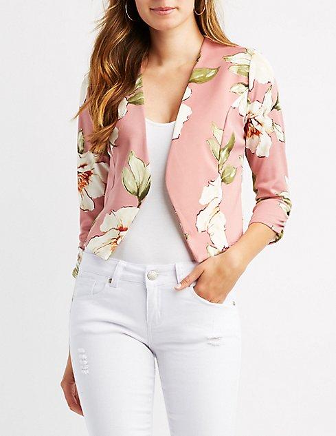 Floral Collarless Ruched Sleeve Blazer
