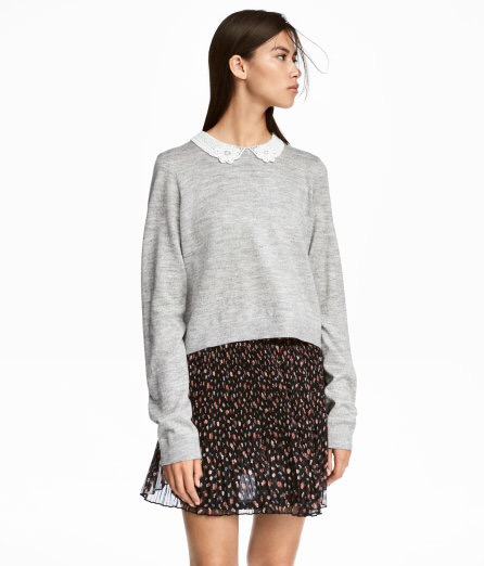 Sweater with Lace Collar, $29.99