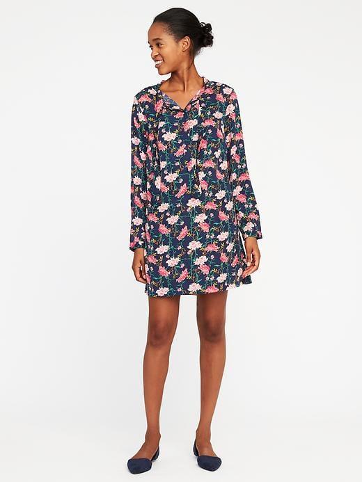 Tie-Neck Shirt Dress for Women, $26