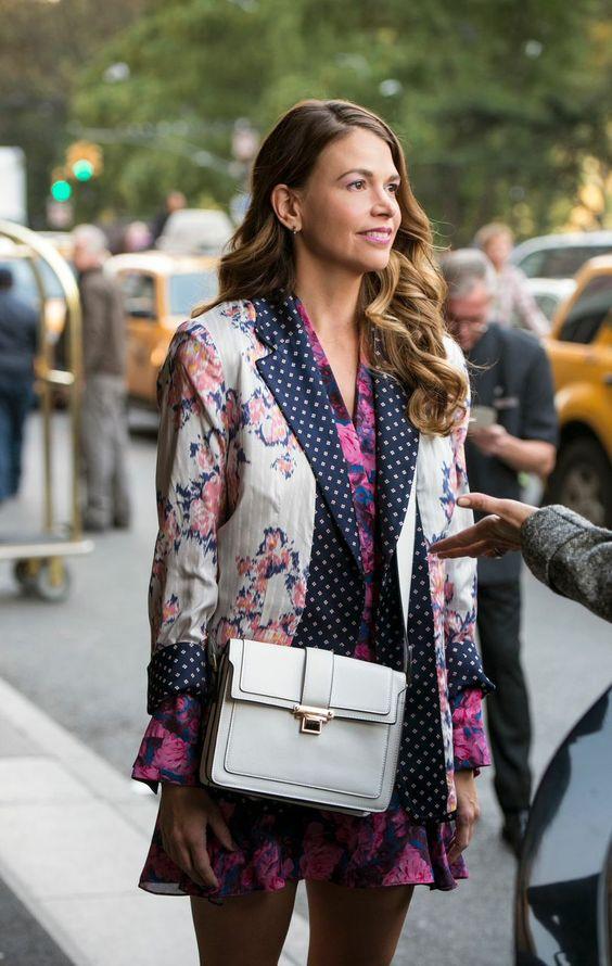 Sutton Foster in a floral blazer