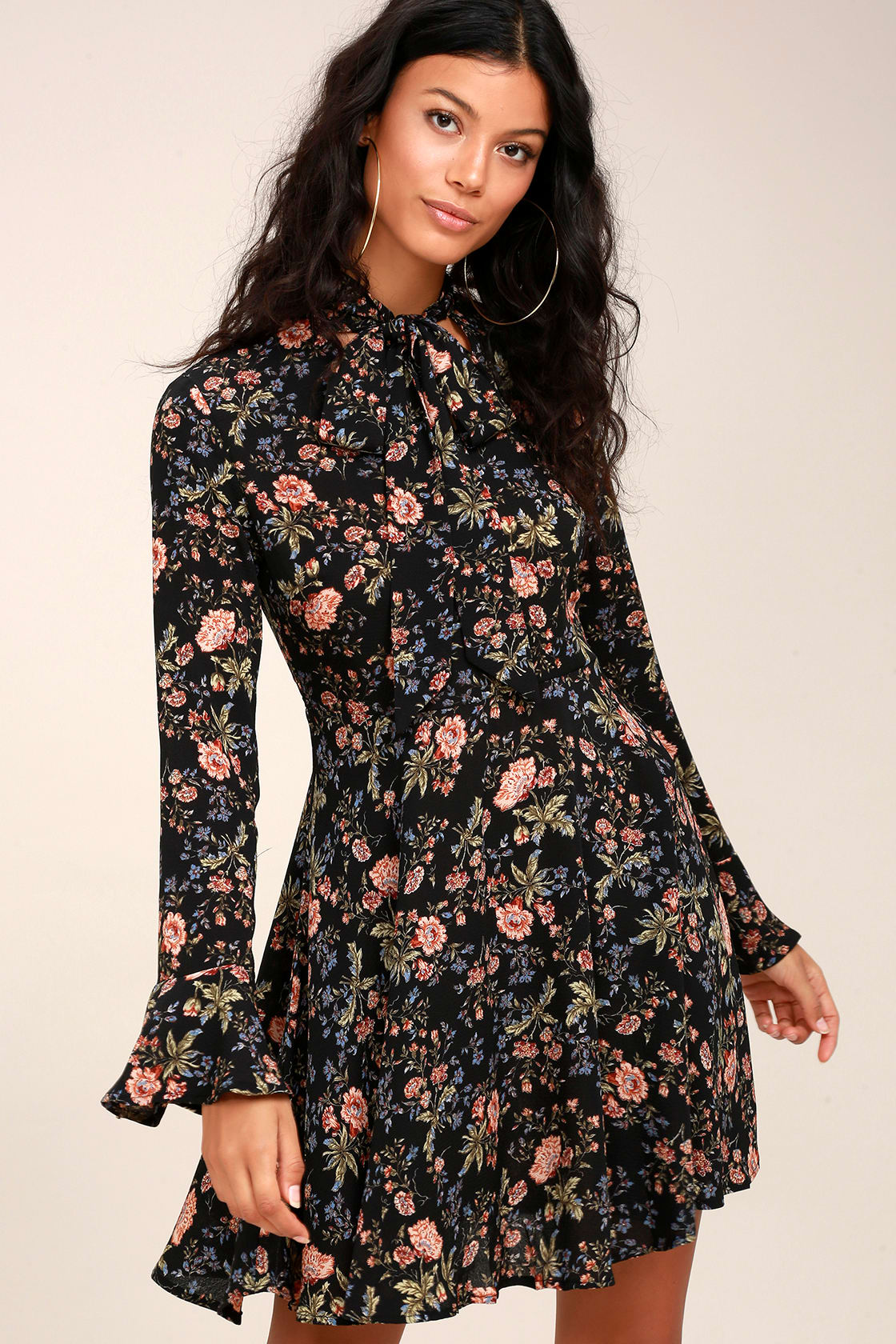 Picturesque Piece Black Floral Long Sleeve Tie-Neck Dress, $54