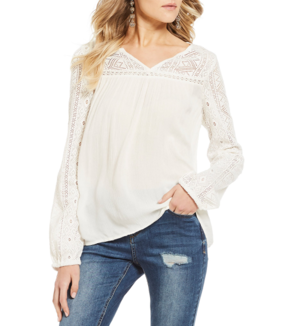 Roxy Island Dreaming V-Neck Lace Inset Long Sleeve Top, $55