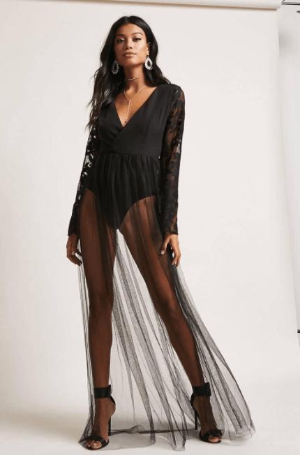 Surplice Mesh Maxi Dress, $33.60