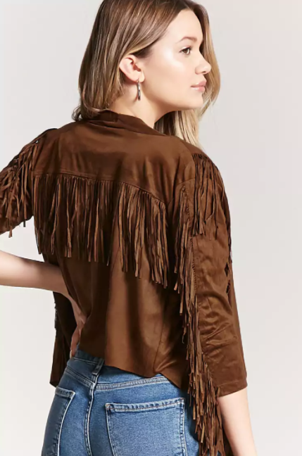 Faux Suede Fringe Jacket, $14