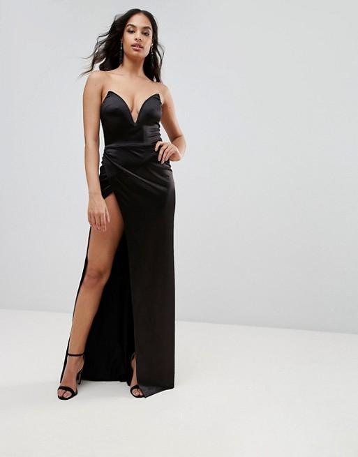 Club L Plunge Front Bandeau Maxi Dress With Thigh Split, $50