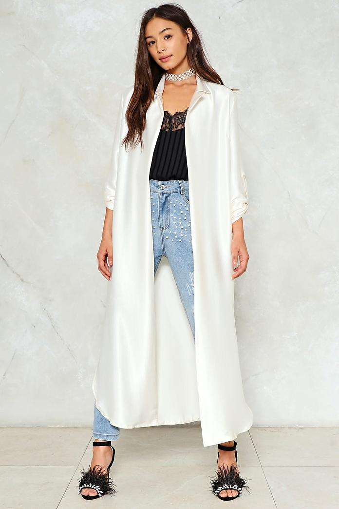 Come a Long Way Satin Duster Jacket, $40