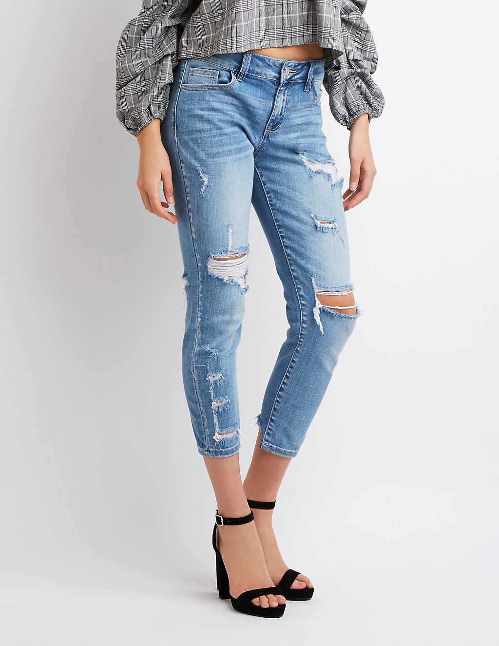 Refuge Crop Boyfriend Destroyed Jeans, $32.99
