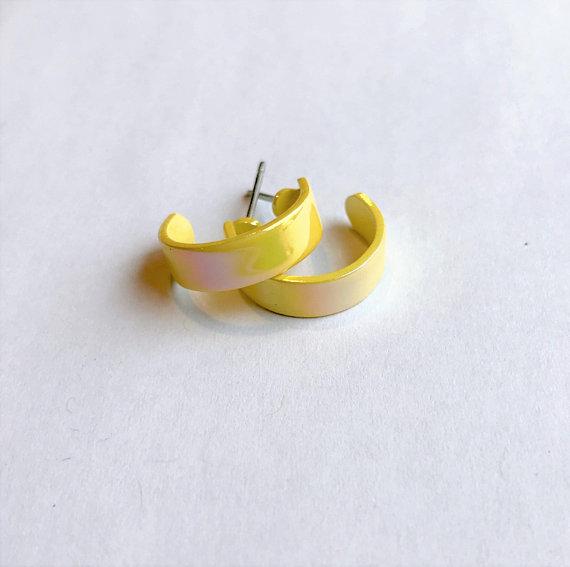 Small Vintage Shimmery Yellow Hoop Earrings, $5