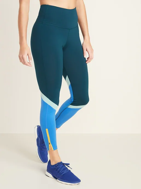 High-Waisted Color-Blocked Side-Zip Elevate 7/8-Length Leggings, $34.99