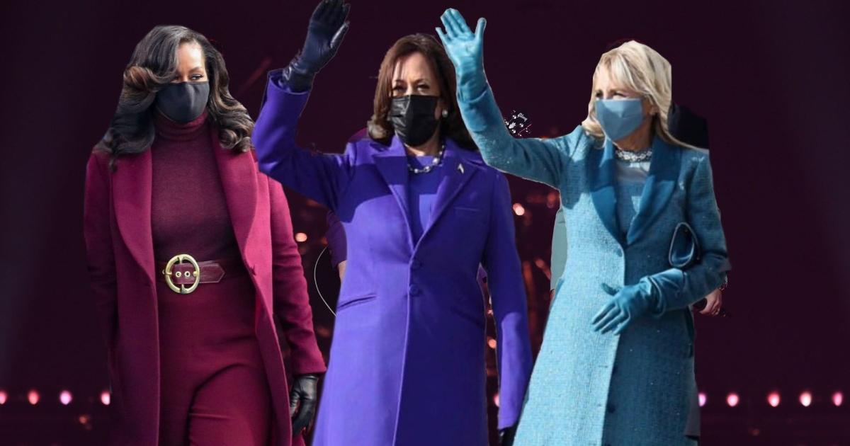 Michelle Obama, Vice President Kamala Harris, and First Lady Dr. Jill Biden in colorful coats